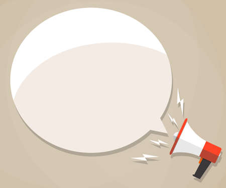 Cartoon megaphone with white bubble for text. social media marketing concept. vector illustration in flat design on brown background