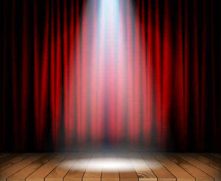 Theater stage with wooden floor and red curtain and a spotlight in center. Vector illustration