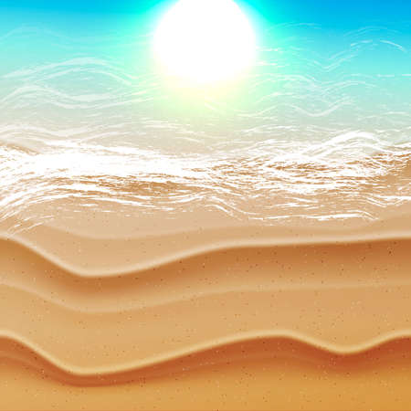 holydays: Realistic summer background with ocean sea beach and tropical sea with sun reflection in the water. Vacation holydays idea, vector illustration