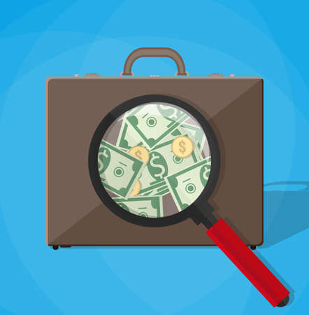 find fault: magnifier on a brown leather businessmans briefcase and see money.. vector illustration in flat design on blue background