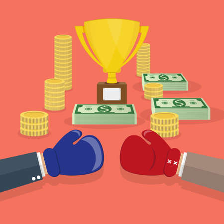 beetwen: Duel beetwen two cartoon businessmans for the money and trophy cup. business achievements business career concept. vector illustration in flat design on red background