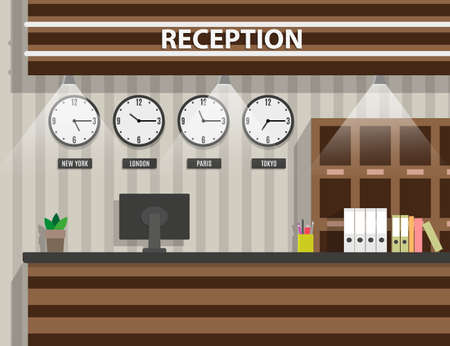 interior of wooden reception with computer, pen, safety boxes, clocks, document paper. hotel hostel lobby, tourism concept, vector illustration in flat design