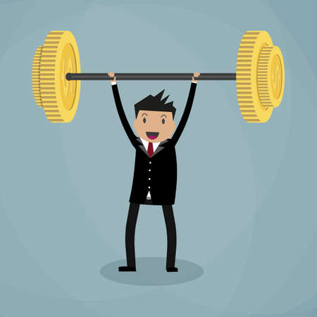 Business executive power lifting barbell made of golden coin.  business financial strength and financial health. vector illustration in flat design on green background Vectores