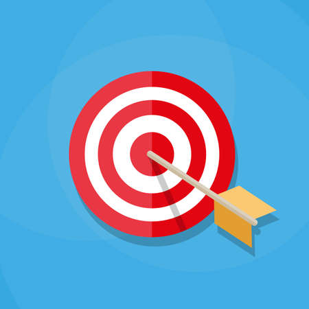 penetrating: Red white circle darts target with orange arrow in center. Sport, shooting. Vector illustration in flat design on blue background