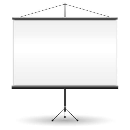 projector screen: Realistic black projector screen for presentations with empty white blank. vector illustration isolated on white background