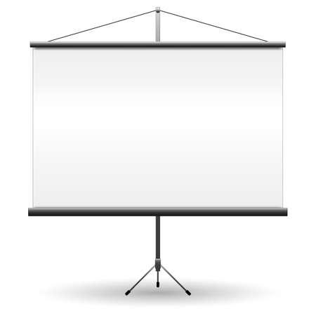 Realistisch zwart projectorscherm voor presentaties met lege witte blanco. vectorillustratie geïsoleerd op een witte achtergrond Stock Illustratie