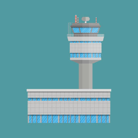 airplane landing: Grey airport control tower and terminal building. vector illustration in flat design on green background