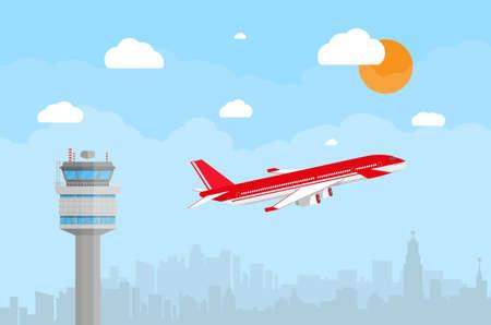 Cartoon achtergrond met grijze luchthaven verkeerstoren en vliegende rode civiele vliegtuigen na het opstijgen in de blauwe lucht met wolken, zon en de skyline van de stad silhouet. vector illustratie in plat design Stock Illustratie
