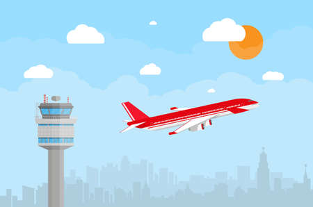 controlling: Cartoon background with gray airport control tower and flying red civil airplane after take off in blue sky with clouds, sun and city skyline silhouette. vector illustration in flat design