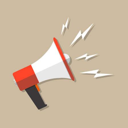 speech icon: Cartoon megaphone icon. social media marketing concept. vector illustration in flat design on brown background