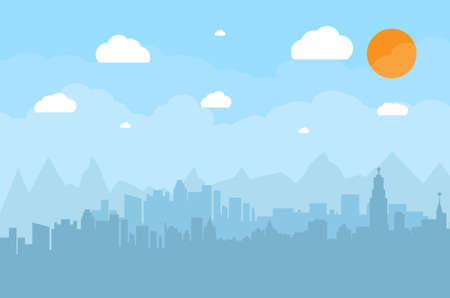 city view: Morning city skyline. Buildings silhouette cityscape with mountains. Big city streets. Blue sky with sun and clouds. Vector illustration