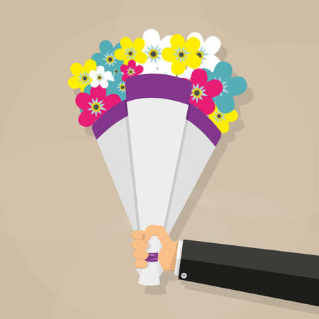 cartoon businessman hand holding bouquet of pink red blue white and yellow flowers. vector illustration in flat design on brown background Illusztráció