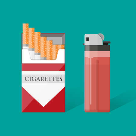 cigarette pack: Opened red cigarette pack with cigarettes and red pocket lighter Cigarette box. Cigarette packet. vector illustration in flat design on green background