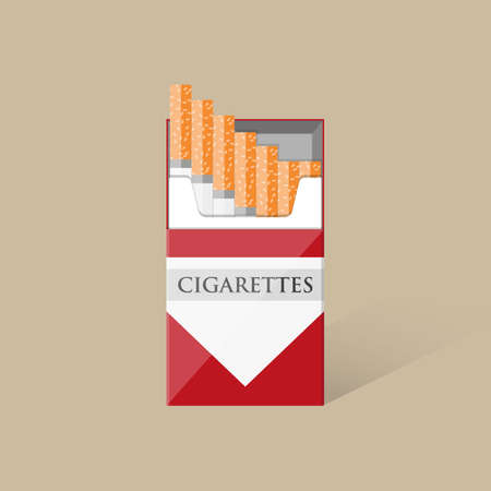 tobacco product: Open white red cigarettes pack box with shadow. vector illustration in flat design on brown background Illustration