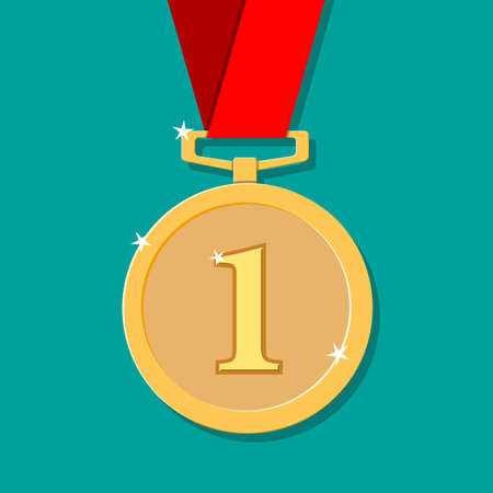 golden medal in flat style with shadow. winners award. first place, Achievement. vector illustration on green background