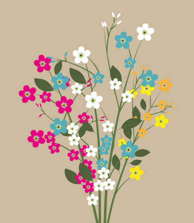 forget me not: forget me not flowers, flowers bouquet, spring flowers, colorful flowers. vector illustration in flat design on light background