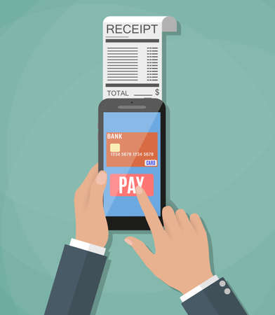 paycheck: Mobile banking or shopping concept. cartoon hands with smart phone and paycheck receipt. Flat design, vector illustration in flat design on green background