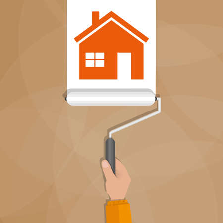 wall paint: Paint roller with hand make a white line with red house shape on brown wall. vector illustration in flat design