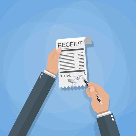 bank bill: cartoon businessman hands with sign payment bill receipt, vector i Stock Photo