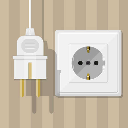 wall plug: Electric white socket and plug with shadows on striped brown wall background. vector illustration in flat design Stock Photo