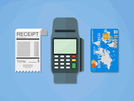 cartoon bank: pos terminal, paper receipt and debit credit bank card. cashless payment. Vector illustration in flat design on blue background Stock Photo