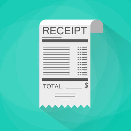 Receipt icon. Invoice icon. total bill icon with dollar symbol. vector illustration in flat design on green background with long shadow
