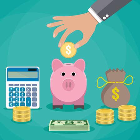 dinero: concepto de ahorro de dinero. Ilustración del vector en el diseño de estilo plano. Hucha, calculadora y mano con la moneda. símbolos e iconos de finanzas.