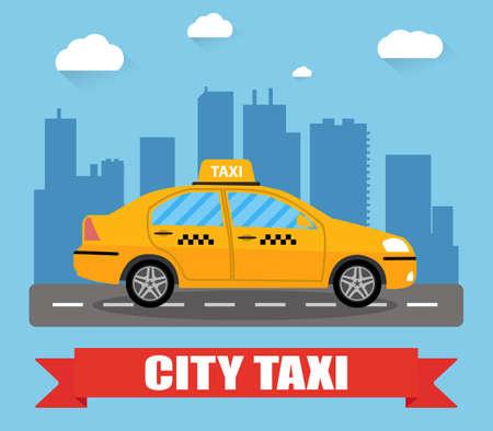 Gele taxi auto in de voorkant van de stad silhouet en de hemel met wolken, taxi pictogram, call taxi concept, vector illustratie in eenvoudige platte ontwerp Vector Illustratie