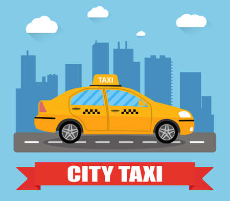 Yellow taxi car in front of city silhouette and sky with clouds, taxi icon, call taxi concept, vector illustration in simple flat design