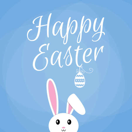 easter sign: Easter cartoon white bunny card, happy easter sign with egg, bunny on blue background, easter rabbit, seasonal greeting card. vector illustration in flat design