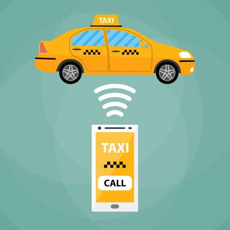telefono caricatura: Concepto de taxi de la aplicaci�n m�vil. Blanco Smartphone con la aplicaci�n m�vil y veh�culo taxi amarillo. Taxi por tel�fono inteligente. taxis llamada. coche del taxi. Ilustraci�n del vector en el dise�o plano simple en el fondo verde Vectores