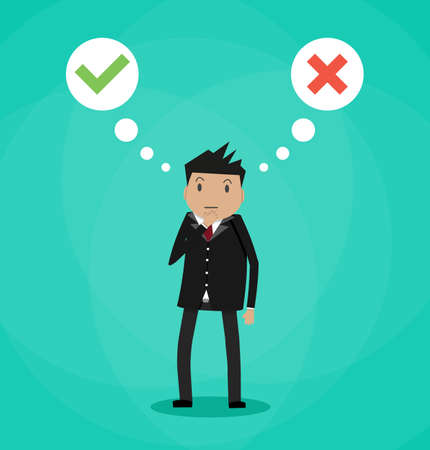 Cartoon businessman and speech bubbles with checkmarks above. Decision idea concept. Wrong or right choice. Vector illustration in simple flat design on green background