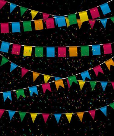 matrimonio feliz: bander�n triangular de color colecci�n de banderines y rojo, amarillo, azul, verde, colores naranja cuadrados en la noche con confeti de color alrededor del vector, iilustration. para el dise�o web. tarjeta de felicitaci�n, fiesta