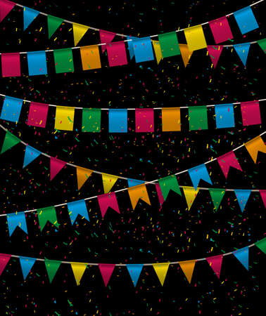 invitations card: Color pennant bunting collection triangular and square red, yellow, blue, green, orange colors in night with color confetti around, vector iilustration. for web design. greeting card, party