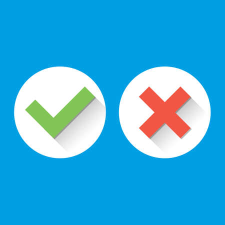 green tick: Simple Check Marks Icons. icons with long shadows in flat style. Green Tick and Red Cross Represents Confirmation, Right and Wrong Choices concepts. Vector illustration