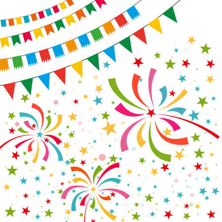 pennant bunting: Color pennant bunting collection triangular and square red, yellow, blue, green, orange colors on white background with color firework around, vector iilustration. for web design. greeting card, party Illustration
