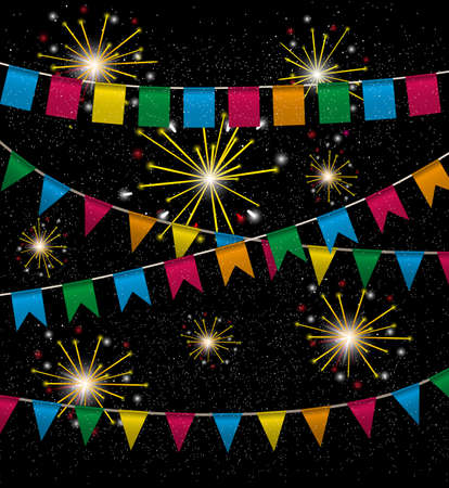 pennant bunting: Color pennant bunting collection triangular and square red, yellow, blue, green, orange colors in night with color firework around, vector iilustration. for web design. greeting card, party