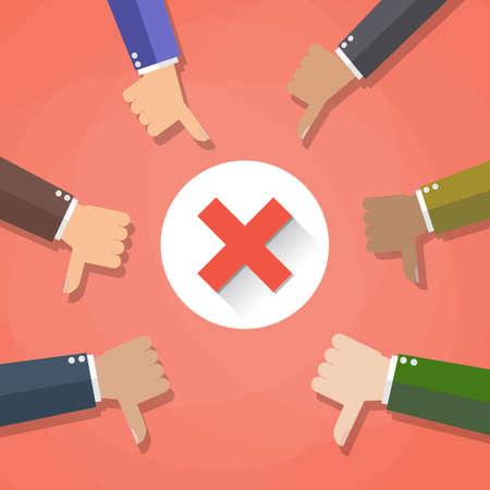 Seis dibujos animados Businessmans manos sostienen los pulgares hacia abajo. marca negativa en el centro. ilustración vectorial en diseño plano sobre fondo rojo. Ilustración de vector