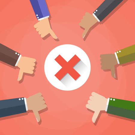 Six cartoon Businessmans hands hold thumbs down. negative checkmark in center. vector illustration in flat design on red background.