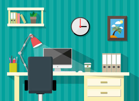 cartoon banner: modern home or business workspace. desk, papers, clock, desktop pc, coffee cup, lamp, pen, picture frame with palm and sun. vector illustration in flat design Illustration