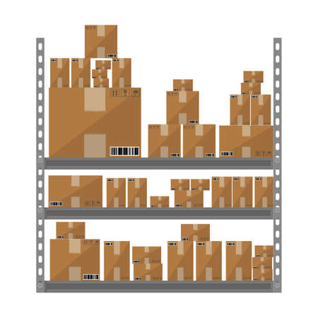 storage facility: Metallic shelves with cartoon brown boxes. part of warehouse. vector illustration in flat design isolated on white background