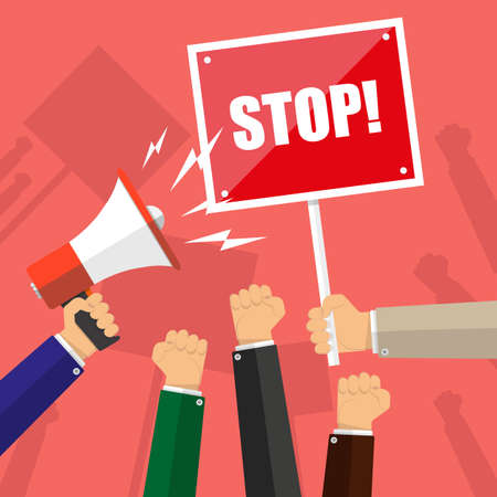 protest design: Cartoon hands of demonstrants and hand with Megaphone and stop sign, protest concept, revolution, conflict, vector illustration in flat design on red background