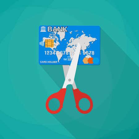 Cartoon scissors cutting a credit debit bank card. Mobile app, web design, infographic concept. vector illustration in flat design on green background