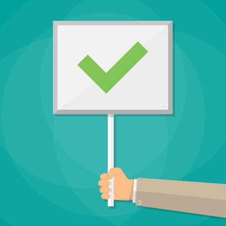 right choice: Cartoon Businessman hand hold sign with green tick. positive checkmark in center. right choice concept. vector illustration in flat design on green background. Stock Photo