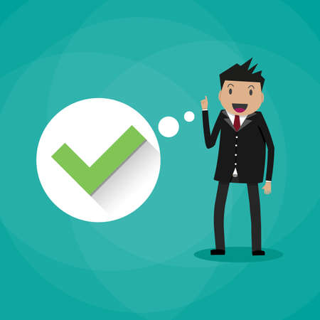 right choice: Happy cartoon businessman and thought bubble with green tick checkmark. Good idea, Right decision. nice choice concept. vector illustration in flat design on green background