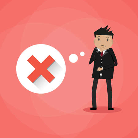 incorrect: Sad cartoon businessman and thought bubble with red cross checkmark. Bad idea, wrong decision. incorrect choice concept. vector illustration in flat design on red background Illustration