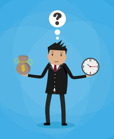 Cartoon businessman with money bag and clocks. Balancing Time and Money concept. vector illustration in flat design on blue background