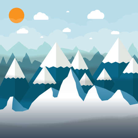 mountains and sky: abstract landscape with snowy mountains, sky with clouds and sun. Vector illustration in flat design