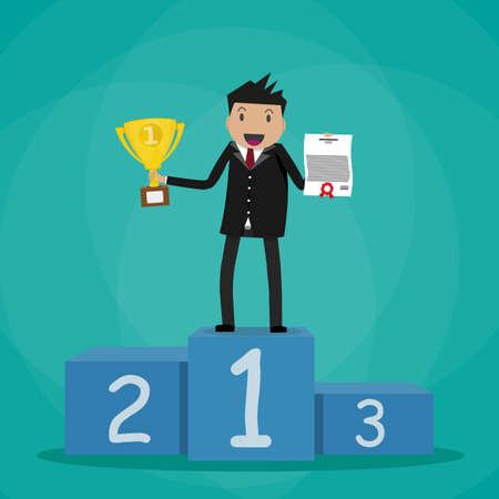 recompense: Happy cartoon businessman winner standing in first place on a podium holding certificate and gold trophy cup. vector illustration in flat design on green background