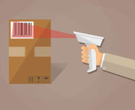 scanning: cartoon human hand is scanning a cardboard box with barcode scanner. vector illustration in flat design on brown background